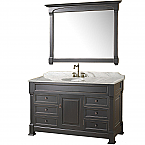 "Andover 55"" Single Bathroom Vanity in Black, Undermount Oval Sink, and 50"" Mirror with Countertop Options"