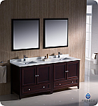"Fresca Oxford Collection 72"" Mahogany Traditional Double Sink Bathroom Vanity with Top, Sink, Faucet and Linen Cabinet Option"