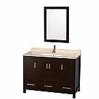 "Sheffield 48"" Single Bathroom Vanity in Espresso with Countertop, Undermount Sink, and Mirror Options"