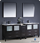 "84"" Espresso Modern Double Sink Bathroom Vanity with Faucet and Linen Side Cabinet Option"