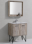 "Modern Lux 30"" Nature Wood Bathroom Vanity w/ Quartz Countertop and Matching Mirror"