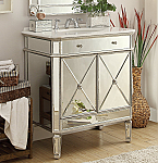 32 inch Adelina Mirrored Silver Bathroom Vanity White Marble Top