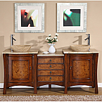 Accord 72 inch Double Sink Bathroom Vanity Travertine Countertop