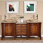 Accord 72 inch Double Sink Bathroom Vanity Travertine Countertop