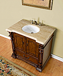 Accord 36 inch Antique Bathroom Vanity Roman Vein-Cut Travertine Top