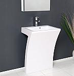 Ado Quadro 22 inch Modern Bathroom Vanity White Pedestal Sink
