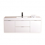 "Modern Lux 60"" Single Sink High Gloss White Wall Mount Modern Bathroom Vanity"