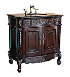 37 inch Adelina Antique Bathroom Vanity Black Glaxy Granite Top