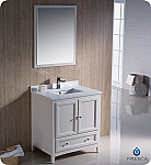 "30"" Antique White Traditional Bathroom Vanity with  Top, Sink, Faucet and Linen Cabinet Option"