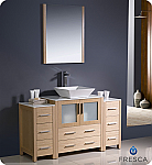 "Fresca Torino 54"" Modern Bathroom Vanity Vessel Sink with Color, Faucet and Linen Side Cabinet Option"