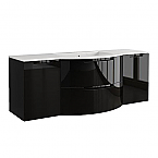 Anity 57 inch Modern Floating Bathroom Vanity Black Glossy Finish