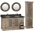 60 inch Double Sink Rustic Bathroom Vanity Marble Top