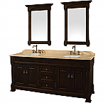 "Andover 72"" Double Bathroom Vanity in Dark Cherry, Undermount Oval Sinks, and 28"" Mirrors with Countertop Options"