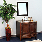36 inch All wood Traditional Dark Walnut Bathroom Vanity