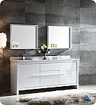 72 inch Modern Double Sink Bathroom Vanity Glossy White Finish