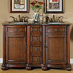 Accord Antique 52 inch Double Sink Bathroom Vanity Baltic Brown Top