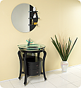 31 inch Glass Top Espresso Modern Bathroom Vanity