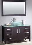 Aber Contemporary 48 inch Glass Vessel Sink Bathroom Vanity Set Espresso Finish