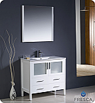 "36"" Glossy White Modern Bathroom Vanity"