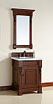 26 inch Cherry Finish Single Sink Bathroom Vanity Optional Countertop