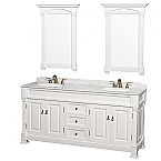 "Andover 72"" Double Bathroom Vanity in White, Undermount Oval Sinks, and 28"" Mirrors with Countertop Options"