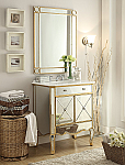 30 inch Adelina Mirrored Gold Bathroom Vanity Marble Top and Mirror Set