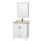 "Sheffield 30"" Single Bathroom Vanity in White with Countertop, Undermount Sink, and Mirror Options"