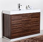 48 inch Integrated Sink Top Walnut Finish Modern Bathroom Vanity