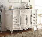 Adelina 56 inch Old Antique White Bathroom Vanity Sink, White Marble Top