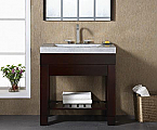 "30"" Modern Bathroom Vanity - Dark Walnut Finish with Top and Mirror Options"