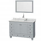 48 inch Vessel Sink Bathroom Vanity in Grey Finish, Marble Countertop