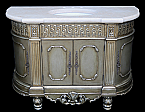 "58"" Handcrafted Antique Platine Silver finish with 2"" Thick Cream Italian Marble Top Sinlge Sink"
