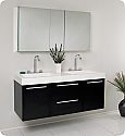 "Fresca Opulento 54"" Black Modern Double Sink Bathroom Vanity with Faucet, Medicine Cabinet and Linen Side Cabinet Option"