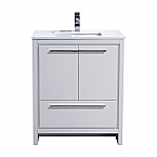 30 inch High Gloss White Modern Bathroom Vanity with White Quartz Countertop