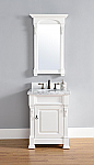 26 inch White Finish Single Sink Bathroom Vanity Optional Countertop