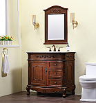 "36"" Deep Chestnut Finish Vanity with Imperial White Marble Top and Matching Medicine Cabinet"