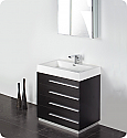 "30"" Black Modern Bathroom Vanity with Faucet, Medicine Cabinet and Linen Side Cabinet Option"