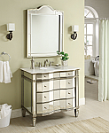 Adelina 36 inch Mirrored Bathroom Vanity Imperial White Marble Top