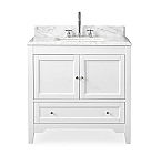 "Adelina Collection 36"" White Traditional with Carrara Marble Top"