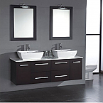 Aber Contemporary 63 inch Solid Wood Double Sink Vanity Set