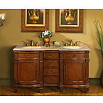 Accord Antique 60 inch Double Bathroom Vanity Travertine Top