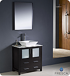 "30"" Espresso Modern Bathroom Vanity Vessel Sink with Faucet and Linen Side Cabinet Option"