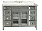 Adelina 50 inch Cottage Grey Finish Bathroom Vanity Italian Carrara Marble Top