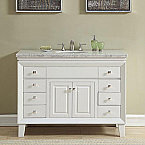 48 inch Transitional Bathroom Vanity White Finish Carrara Marble Top