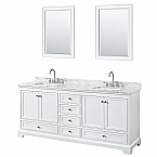 80 inch Double Sink Transitional White Finish Bathroom Vanity Set