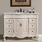 "48"" Antique White Single Sink Cabinet - Crema Marfil Top, Undermount White Ceramic Sink (3-hole)"
