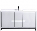 60 inch White Modern Bathroom Vanity with White Quartz Countertop