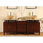 Accord 73 inch Double Bathroom Vanity Dark Veined Cherry Finish
