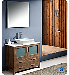 "Fresca Torino 36"" Walnut Modern Bathroom Vanity with Vessel Sink"
