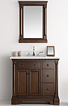 37 inch Antique Coffee Bathroom Vanity with Mirror Carrera Countertop